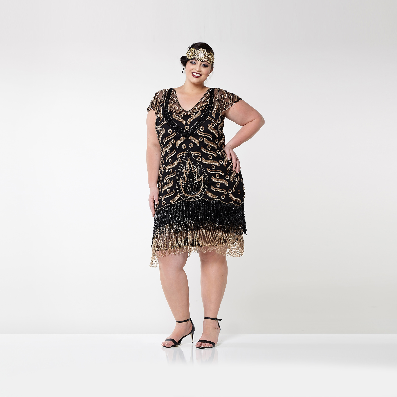 Plus Size Vegas Black Gold Flapper Dress Slip Included 20s Vintage ...