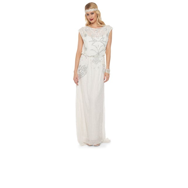 Isla Off White Art Deco Bohemian Wedding Prom Maxi Gown Dress Vintage 20s inspired Flapper Great Gatsby Charleston Downton Abbey Handmade