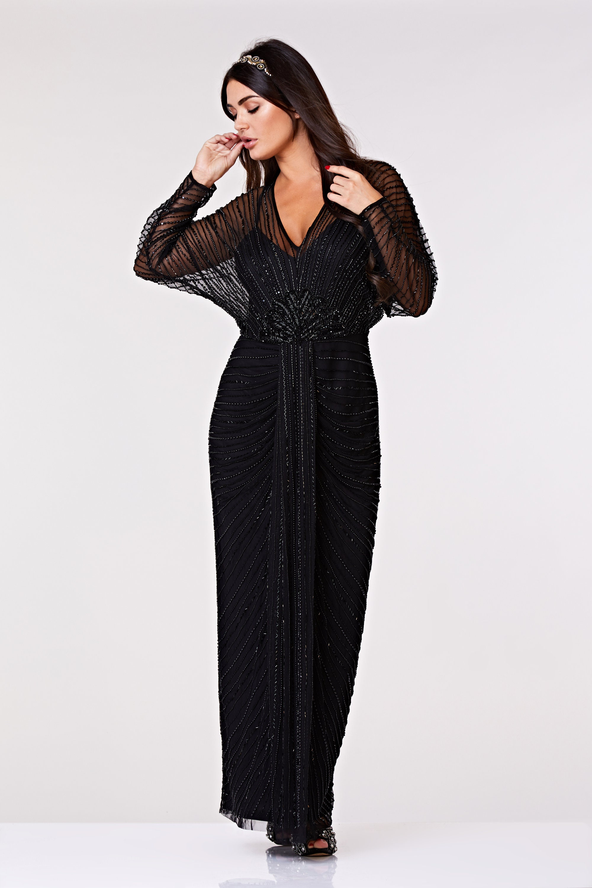 8aed8f6d7 Plus Size Nell Gown Black Prom Maxi Dress with Sleeves 20s Flapper Great  Gatsby Formal Speakeasy Wedding Reception Bridesmaids prom