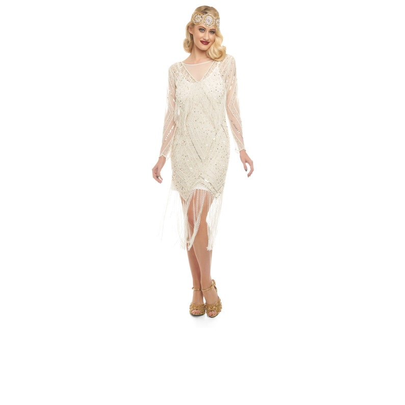 b20b01b441a Betty Ivory Gold Fringe dress with Sleeves with Slip 20s