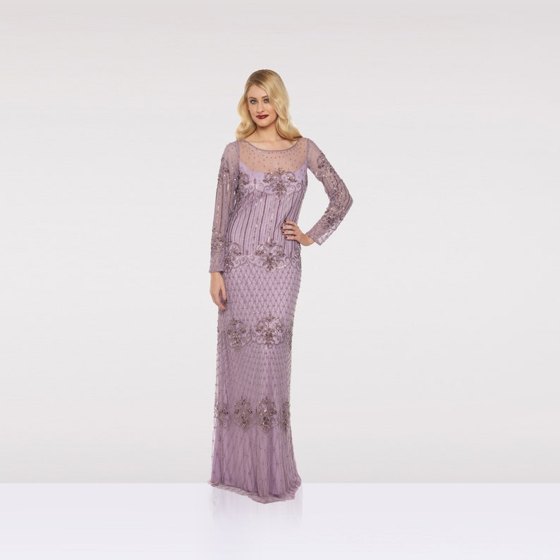 Canada Local Duty Free shipping Lavender Lilac Prom Maxi Dress image 0