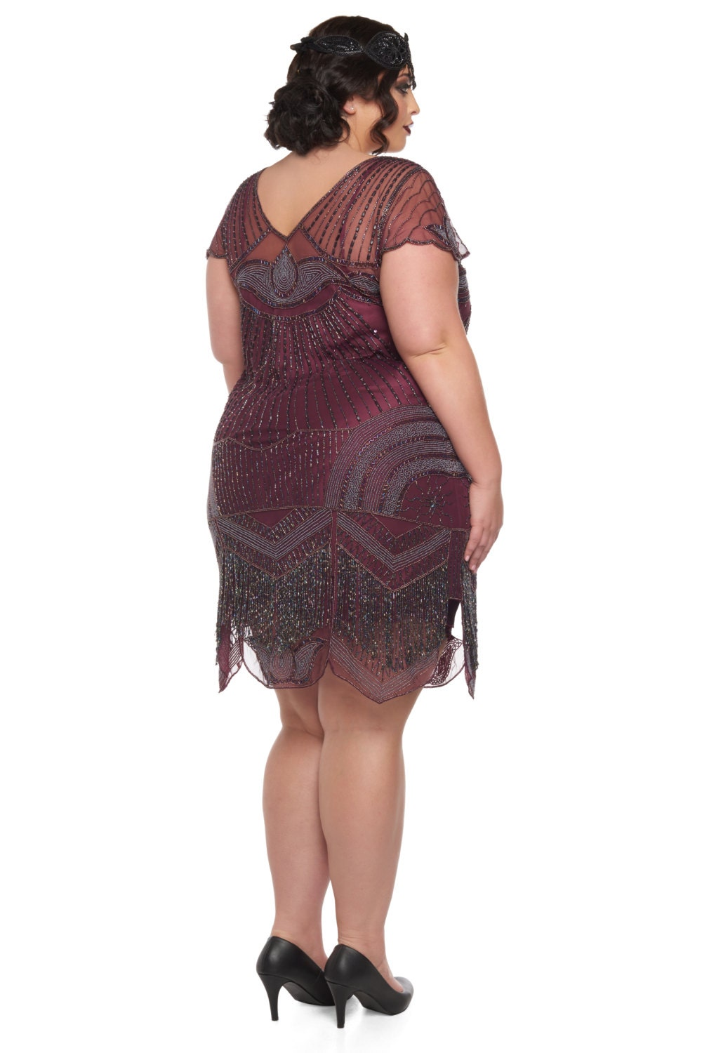 Plus Size Beatrice Purple Plum Flapper Dress Slip Included