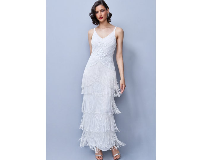 White Tessa V-Neck Backless Sleeveless Lace Beads Frills Long Maxi Wedding Gown Prom Dress 1920s Great Gatsby Art Deco Downton Abbey Bridal