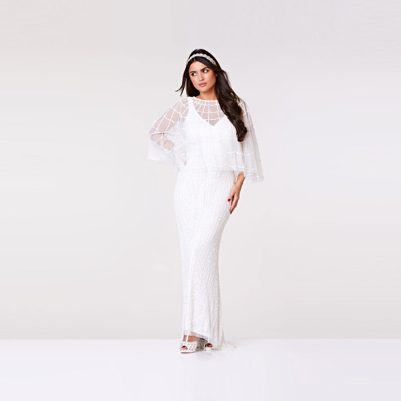 Downton Grand Inspiré Cap Perlé Bal Gatsby Déco Blanc 20 S Embelli Boléro Abbey Cape Art Clapet Veste Mariage Sophie trCxdshQ