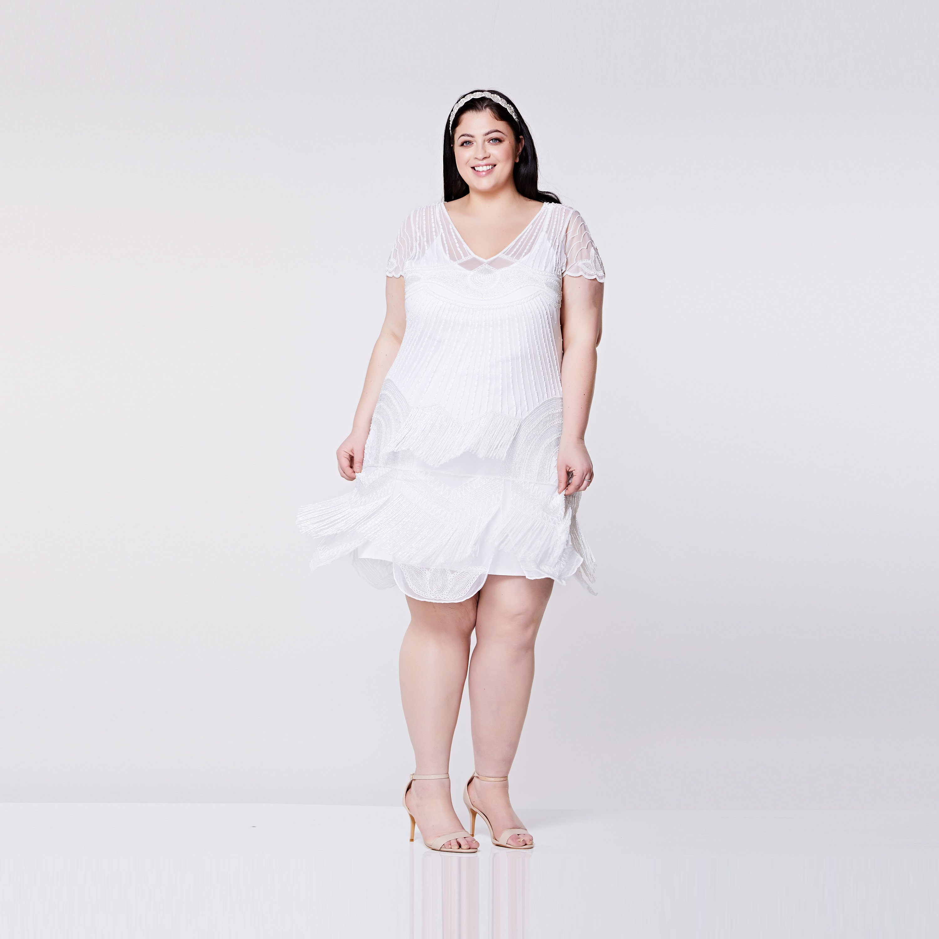 Plus size Beatrice White Flapper Dress Slip Included 1920s ...