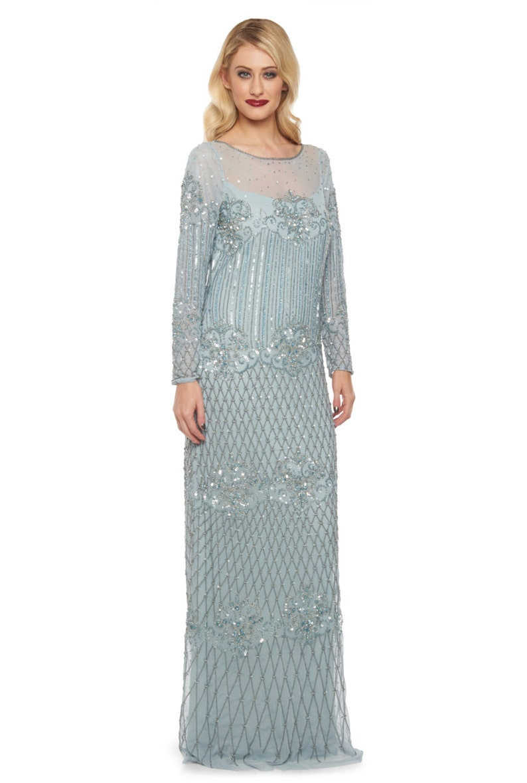 5ddc5c27bb4 Plus Size Vintage sky Blue Dolores Prom Maxi Dress Sleeves 20s