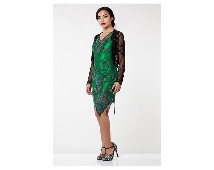 US18 UK22 AUS22 EU50 Plus Size Black 20s inspired Tess Flapper Wedding Jacket Bolero Great Gatsby Art Deco Downton Abbey beaded Shrug cape