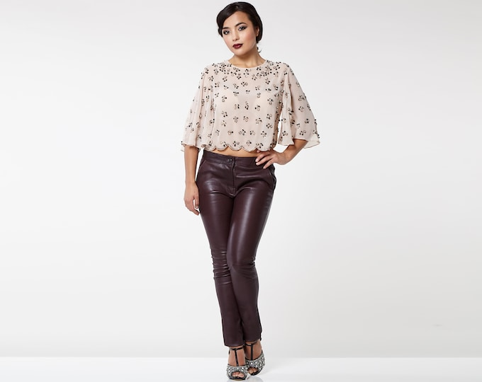 Burgundy Real genuine stretch Fitted Leather Trousers Regular Height Waist with Pockets Made of Real Soft stretch Leather