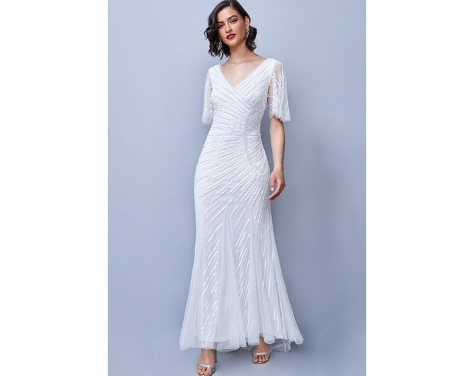 White V-Neck Harley Dress Mid Flare Sleeves Back Trail Full Maxi Wedding Gown Prom Dress 1920s Great Gatsby Art Deco Downton Abbey Bridal