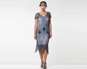Canada Duty Free Shipping Annette Grey Blue Vintage 20s Flapper Great Gatsby Downton Abbey Art Deco Bridesmaid Wedding Guest Speakeasy Dress