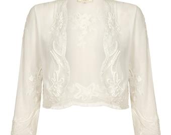 US24 UK28 AUS28 EU56 Mary Off white Plus size Bolero Jacket Shrug Cape Hand made 1920s Wedding Flapper Gatsby Vintage inspired Charleston