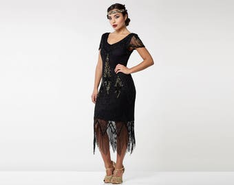 Canada Duty Free Shipping Annette Black 20s Flapper Gatsby Downton Abbey Charleston Art Deco Bridesmaid Wedding Guest Bridal Shower Dress