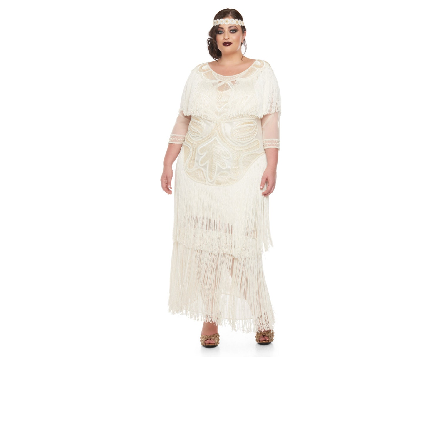 plus size wedding gown cream glam prom maxi dress with sleeves 20s great gatsby downton abbey bridal shower wedding reception beach wedding