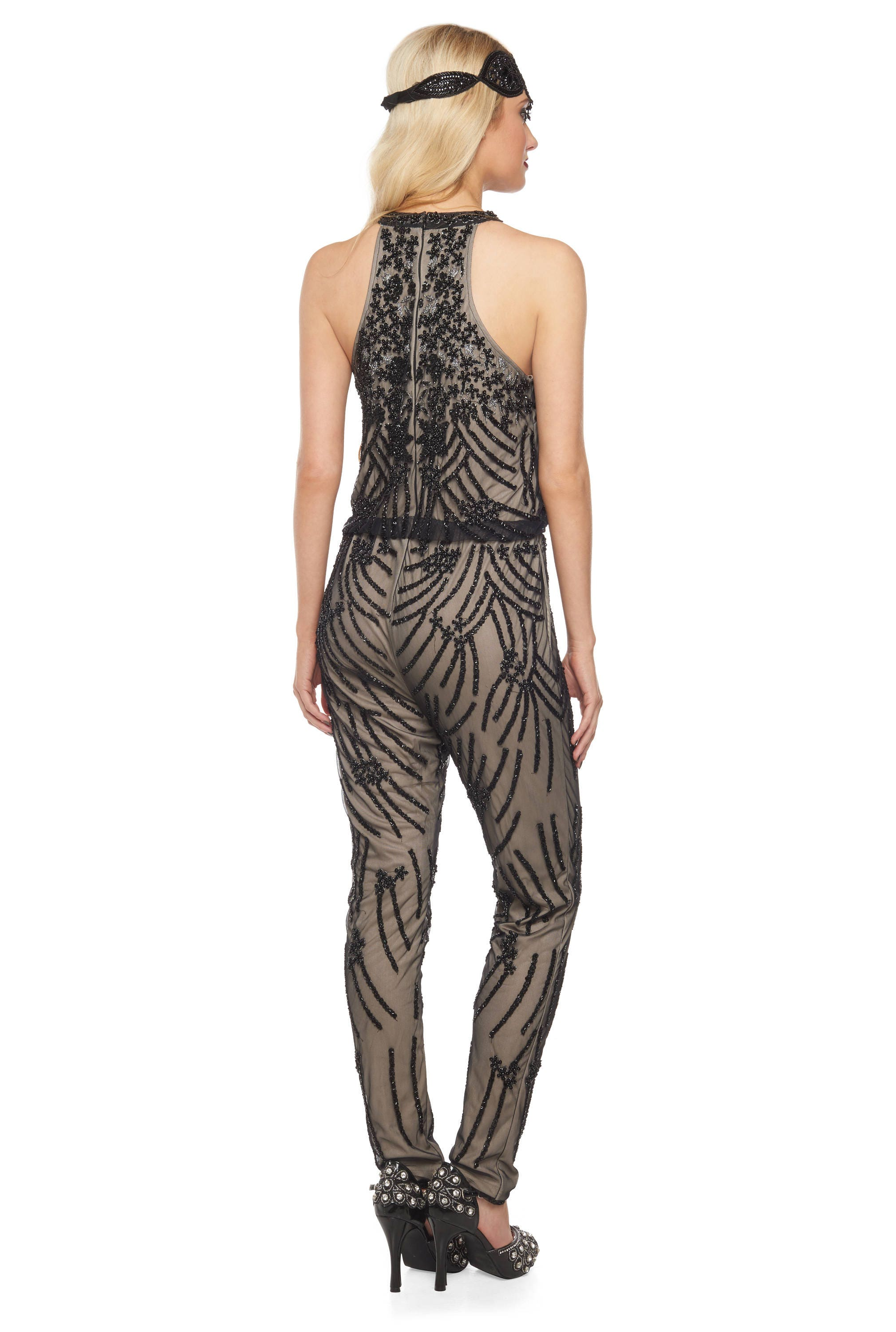 86730b8976e Black Nude Jumpsuit Romper Cora 1920s Vintage Inspired Great Gatsby Art  Deco Charleston Downton Abbey Bridesmaid Wedding