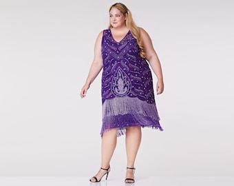 Plus size Hollywood Purple Flapper Fringe Dress Slip Included 20s inspired Great Gatsby Art Deco Charleston Bridesmaid Wedding Bridal Jazz