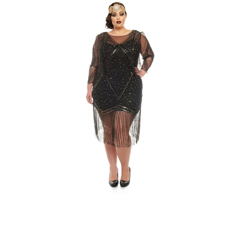 1920s Plus Size Flapper Dresses, Gatsby Dresses, Flapper Costumes Plus size Betty Black Fringe Dress with Sleeves Slip included 20s inspired Flapper Gatsby Charleston Bridesmaid Wedding Art Deco $157.08 AT vintagedancer.com