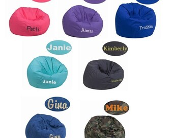 More Colors. LARGE Adult Teen Kids Personalized Bean Bag Chairs   Embroidered Chairs