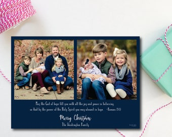 """Photo Christmas Card. """"The God of Hope"""" with navy border."""