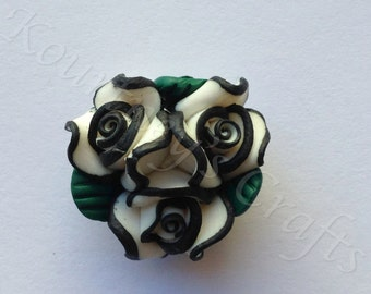 Handmade Polymer Clay Flower set of 10, size 23mm, thickness 14mm, hole 2mm