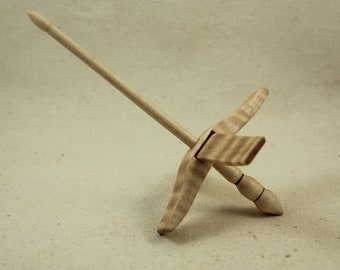 "01.19.2 5/8"" Tiger Maple Mini Glider Turkish Drop Spindle Maple"