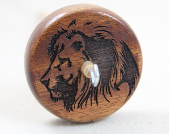 Mahogany Lion Top Whorl Drop Spindle Medium Weight