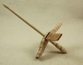 "01.19.5 5/8"" Tiger Maple Mini Glider Turkish Drop Spindle Maple"