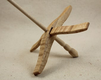 07.19.1 Tiger Maple Full Size Glider Turkish Drop Spindle