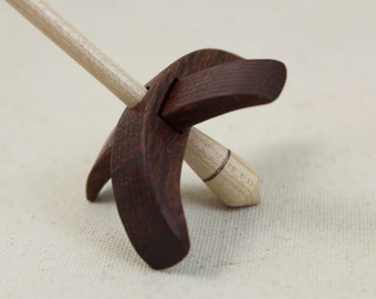 Leopardwood Mini Turkish Drop Spindle 2.5 inch arms 4.25 tall