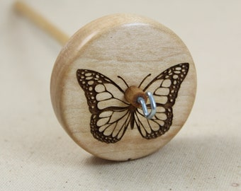Maple Butterfly Top Whorl Drop Spindle Medium Weight