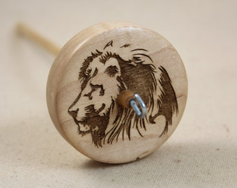 Maple Lion Top Whorl Drop Spindle Medium Weight