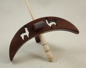 African Mahogany Cut-out Alpaca Turkish Drop Spindle