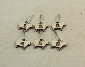 Stitch Markers set of 6 Sheep