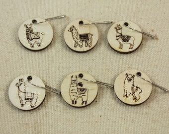 Stitch Markers set of 6 Llama