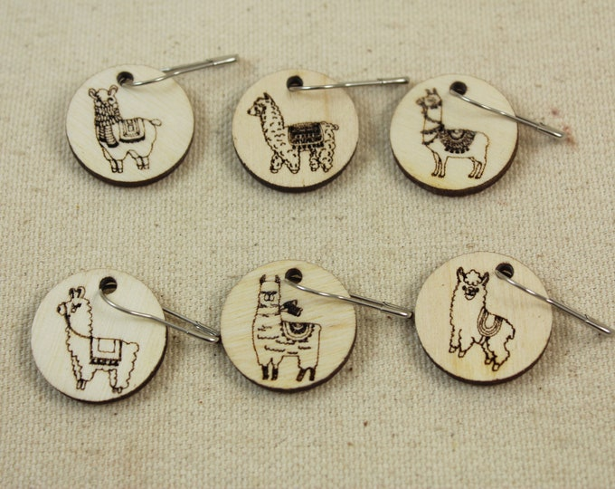 Featured listing image: Stitch Markers set of 6 Llama