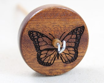 Mahogany Butterfly Top Whorl Drop Spindle Medium Weight
