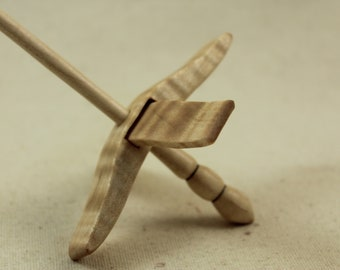 "5/8"" Tiger Maple Mini Glider Turkish Drop Spindle Maple"