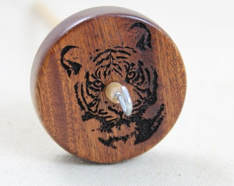 Mahogany Tiger Top Whorl Drop Spindle Medium Weight