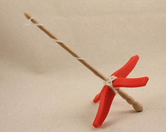 Red 3D printed Glider Turkish Drop Spindle