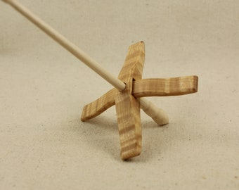 Tiger Maple Mini Glider Turkish Drop Spindle Maple