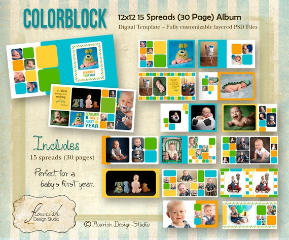 INSTANT DOWNLOAD 12x12 Baby Boy First Year Album Template Etsy