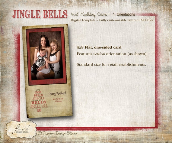 4x8 Christmas Card Photoshop Slimline template INSTANT DOWNLOAD Believe Rustic