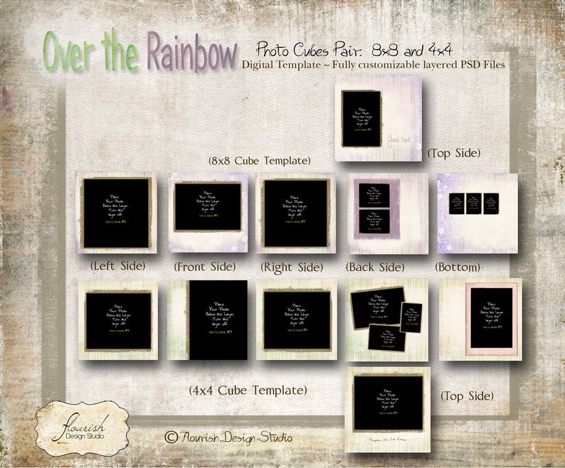 8x8 /& 4x4 inch cubes Photo Cube templates for photographers Over the Rainbow