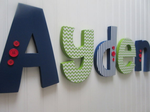 How To Decorate Wooden Letters For Nursery: Items Similar To Nursery Letters Baby Boy Wooden Letters