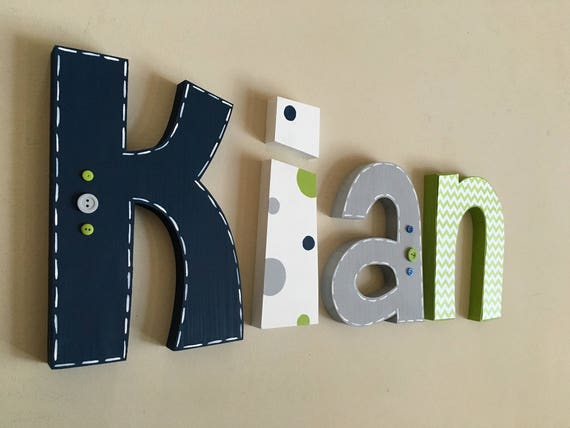 Nursery Wood Wall Letters Decor Nursery Letters Boy Nursery Etsy