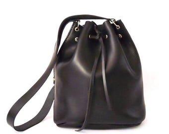 LARGE LEATHER SACKBAG/ leather black tote bag, shoulder bag, carryall. handmade