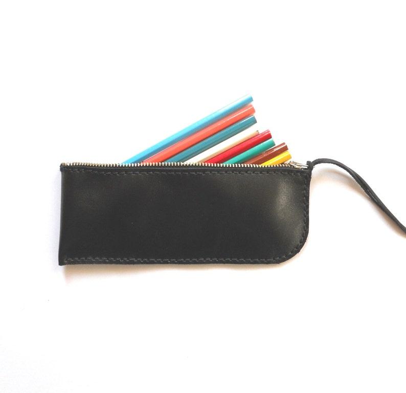 5627f833288a2 Ledertasche schwarz Leder Federmäppchen   Reißverschluss-Etui