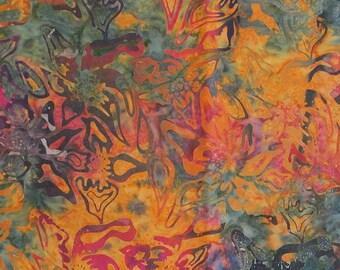 Tiedye Floral Tribal Batik -  1 yard -  BT12018