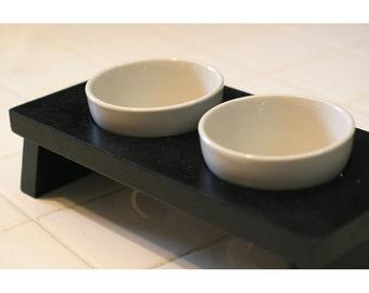 Designer small dog or cat food and water pet dish pet bowl ceramic black double diner feeder designer