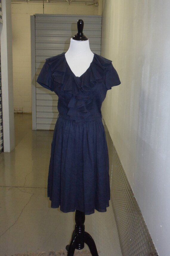 Vintage 50s Black Ruffle Dress