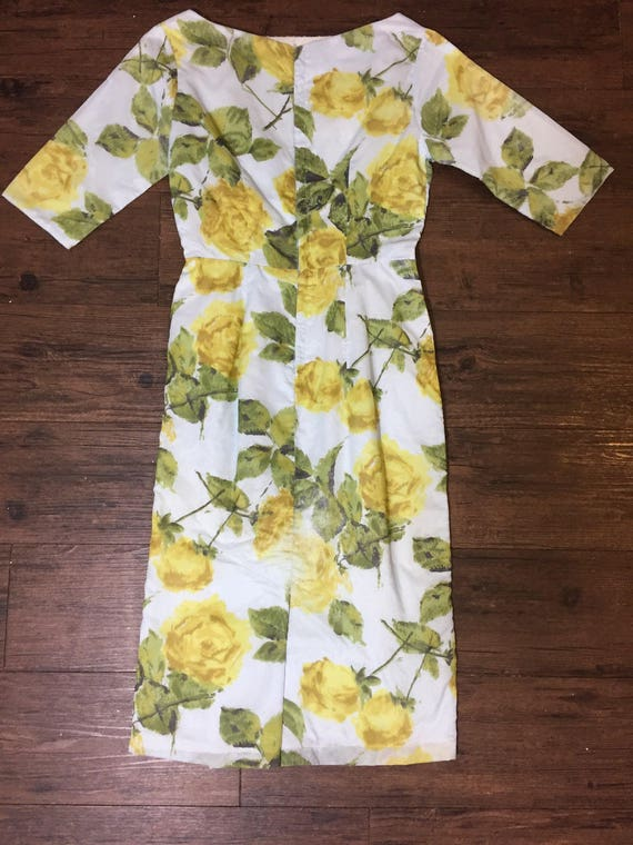 Vintage 50s yellow rose dress